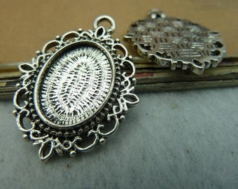 20pcs Antique Silver Lovely Oval Cameo Cabochon Base Setting pendant. c3105