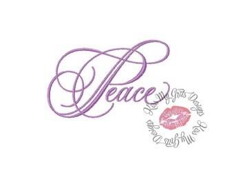 Peace Script  Machine Embroidery Design