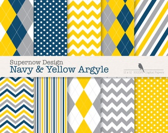 """FREE COMMERICAL use Argyle Digital Paper Pack. """"Navy & Yellow Argyle"""" Scrapbooking Papers. Golf, Chevron, Stripe, Polka Dots."""