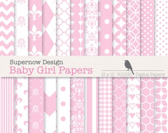 """FREE COMMERICAL use 40% Off Baby Girl Pink Digital Papers. 'Baby Girl Papers'  -  24 Mixed Patterns Scrapbooking Papers. 12"""" x 12"""" 300dpi"""
