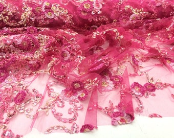Fuchsia Multi Color Flowers With Sequins Embroider On A Mesh Lace.36x50 Inches.