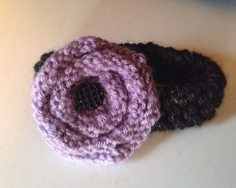 Hand Knit Newborn headband with Flower