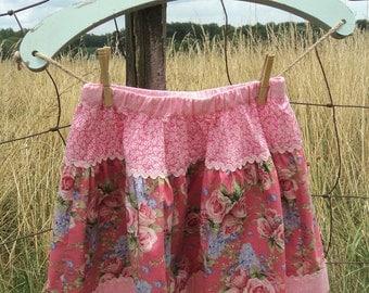 Pink Floral Spring Skirt, Girls Spring Skirt, Girls Size 6 Skirt, Pink Ric Rac Skirt, Pink Floral, Girls Cotton Skirt, Easter Skirt