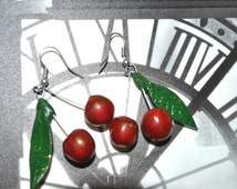 Cherry Earrings Natural and green leaf, Jewelry Dangle, Earrings Food, Earrings for Women Red Polymer Clay Cherries,polymer clay