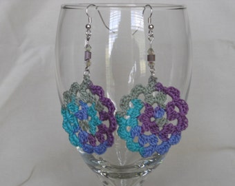Crocheted multi colored beaded earrings