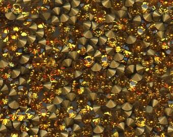 451096 *** 50 vintage rhinestones point back 3,00mm, TOPAZ x50