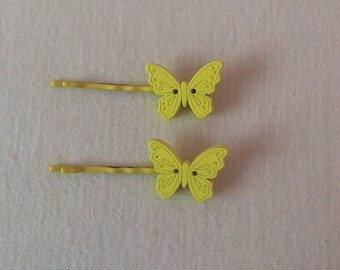 Butterfly, wooden, button, hair slide, grip,clip, bobby pin,kirby grip, vintage, shabby chic