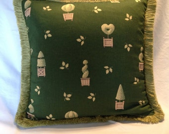 "Topariay Pillow Cover with  1"" Brush Fringe"