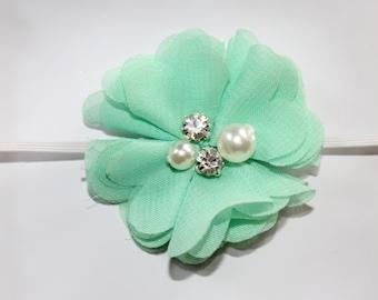Mint headband-Baby girl headband-Infant headband-Headband-Headband for baby-Flower headband-Mint chiffon flower headband-photo prop