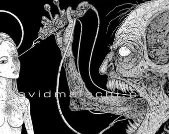 "Prints of David Malachi's pen and ink illustration, ""HVN HLL"""