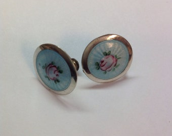 Vintage Sterling Silver Blue Floral Guilloche Enameled Screwback Earrings