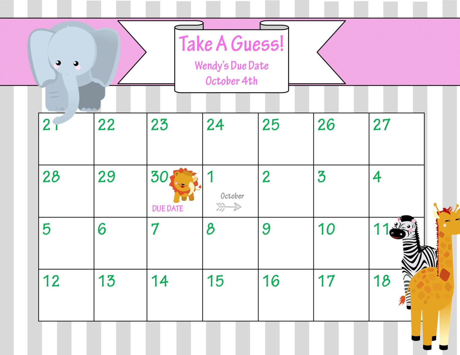 Printable Due Date Calendar // Baby Shower Game // by ChicWrist