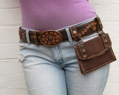Genuine Leather Brown 'Sachi' Belt and Pouch with Mauve Stitching and Studded Detailing