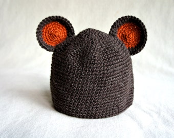 Baby bear hat, crochet animal hat,Baby Hat with Ears, Crochet Beanie Hat with Ears
