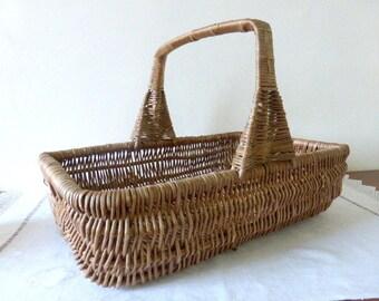 Vintage French, Large, Bent Twig, Gathering, Market Basket