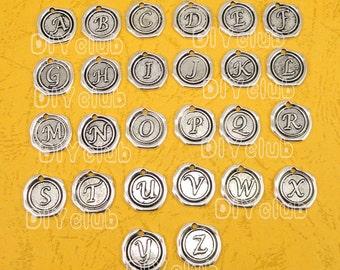 26pcs(1 set) of Antique Tibetan silver Letter Alphabet Charms pendants 18x18mm