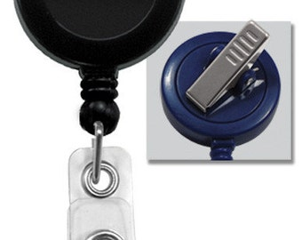 100 Badge Reels w/ Vinyl Strap & Swivel Spring Clip (Black) : 2120-7601
