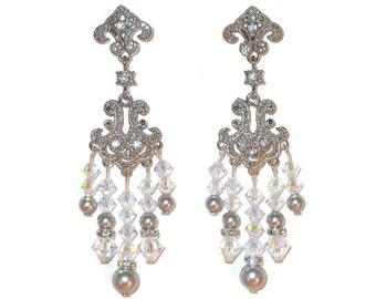 Swarovski Elements CRYSTAL & PEARL Chandelier Earrings Clear AB - Light Grey Bridal Jewelry