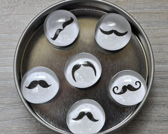 Round Glass Mustache Magnets
