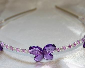 Purple butterfly tiara, purple butterfly wedding headband, bridesmaid tiara, purple prom tiara, beaded tiara