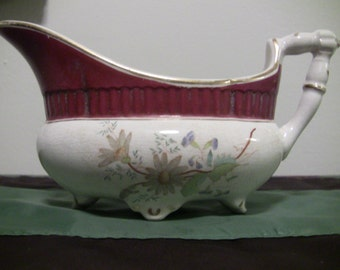 Gorgeous Floral and Mauve Gravy Boat or Bowl with Handle