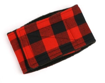 Leak Proof Belly Band for Male dogs Red Buffalo Plaid Dog Wraps, Diaper for Male Dogs
