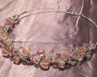 Pink Hearts Crocheted Metal Necklace