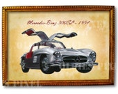 Antique Mercedes-Benz 300SL 1954 Motor Car Instant Download Digi Photo Clipart PNG for Card, Decor & Decoupage M150