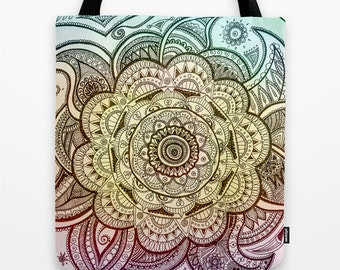 Mandala Tote Bag, Colorful Bag, Mandala Drawing, Original Art, Original Drawing, Art Tote Bag, Original Art Bag, Mandala, Flower Pattern