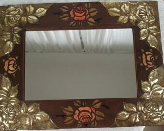 Art Nouveau Mirror . Arts & Crafts Mirror . Repousse Mirror . Roses Mirror . C 1890/1910 . Antique . French . Boudoir . .