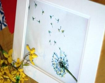 "Floating Dandelion Seeds Printable- ""Make a Wish!""- Original Handpainted in Watercolors-Digital File"
