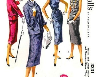 McCall's 3331 Awesome Two-Piece Suit & Sleeveless Blouse 1955 / SZ11 UNCUT