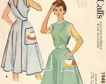McCall's 1948 Coffee Klatsch Wrap Around Apron + Transfer 1955 / SZSMALL UNCUT