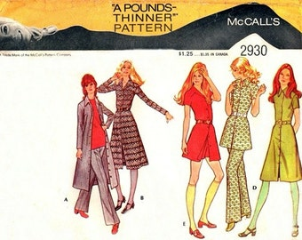McCall's 2930 Love In Dress or Tunic & Pants 1971 / SZ15 UNCUT