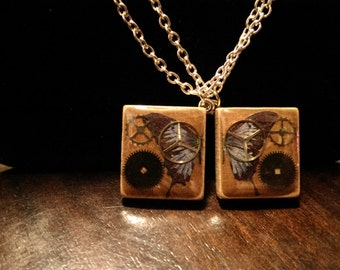 Blue Butterfly Best Friends! steampunk style necklaces