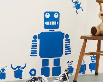 Robot and Aliens Wall Stickers