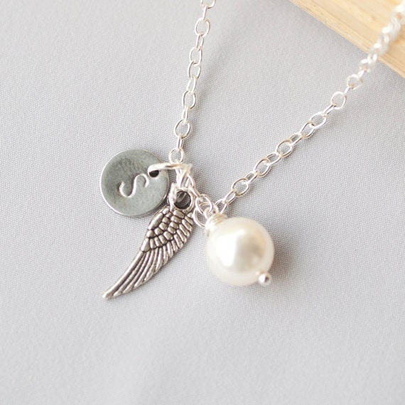 Personalized Initial Angel Wing Necklace, Swarovski Pearl Necklace