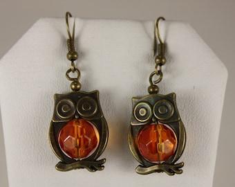 Goldtone amber glass owl earrings, fishhooks E 13