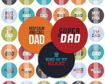 Best Dad Father's Day Bottle Cap Images - 8.5x11 Digital Collage Sheet (No. 001)- 1 Inch Circles for Bottlecaps, Hair Bow - Instant Download