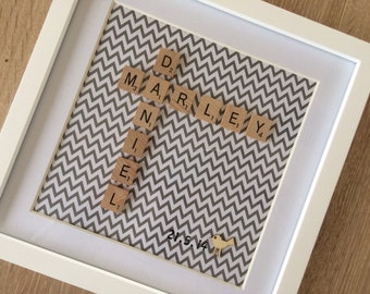 Scrabble Art Custom Made Personalised Wedding Engagement New Baby Gift Present