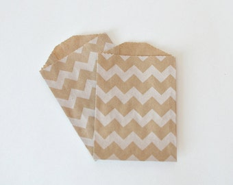 Small Kraft Chevron Favor Bags // Silverware Bags // Rustic Small Paper Bags // Small Chevron Treat Bags 4 x 2.75 (Set of 25)