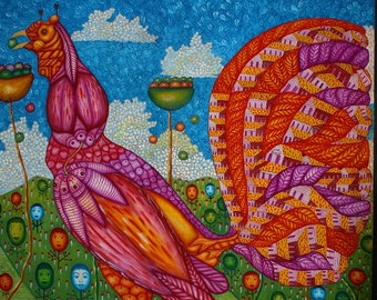 """Caribbean folk naive painting Rooster oil on canvas by Celso Trufel 30"""" x 39"""" colorful abstract Dominican decor Free Shipping"""