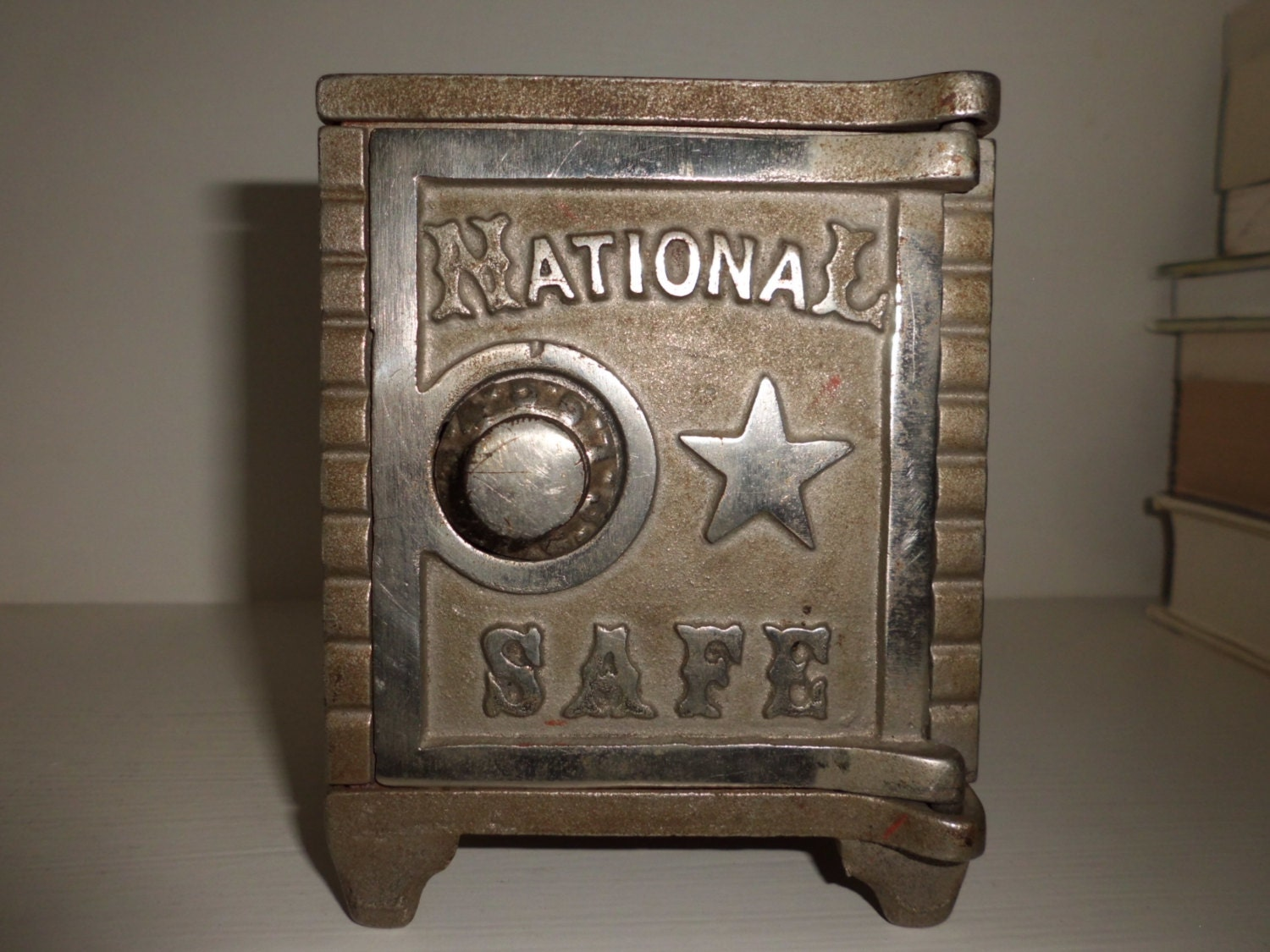 Antique cast metal national safe combination coin bank for How to open a tin piggy bank