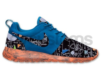 Nike Roshe Run Blue Orange Marble School Math Genius Custom