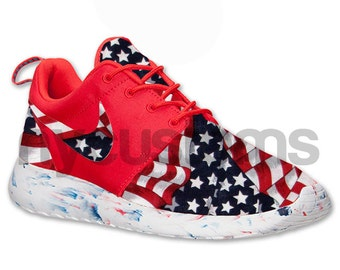 Free Shipping Nike Roshe Run Red Marble American Flag