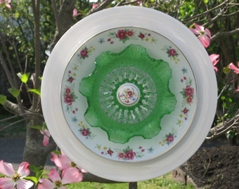 "Repurposed Glass Garden Art - ""Sweet Emerald"" is a 5 Piece Ceramic, China, and Vintage Glass Garden Flower.  80"