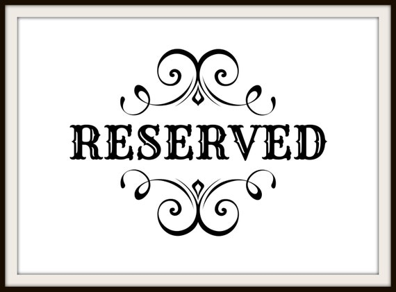 Reserved Wedding Signs Printable Elegant By OptiqalDesigns