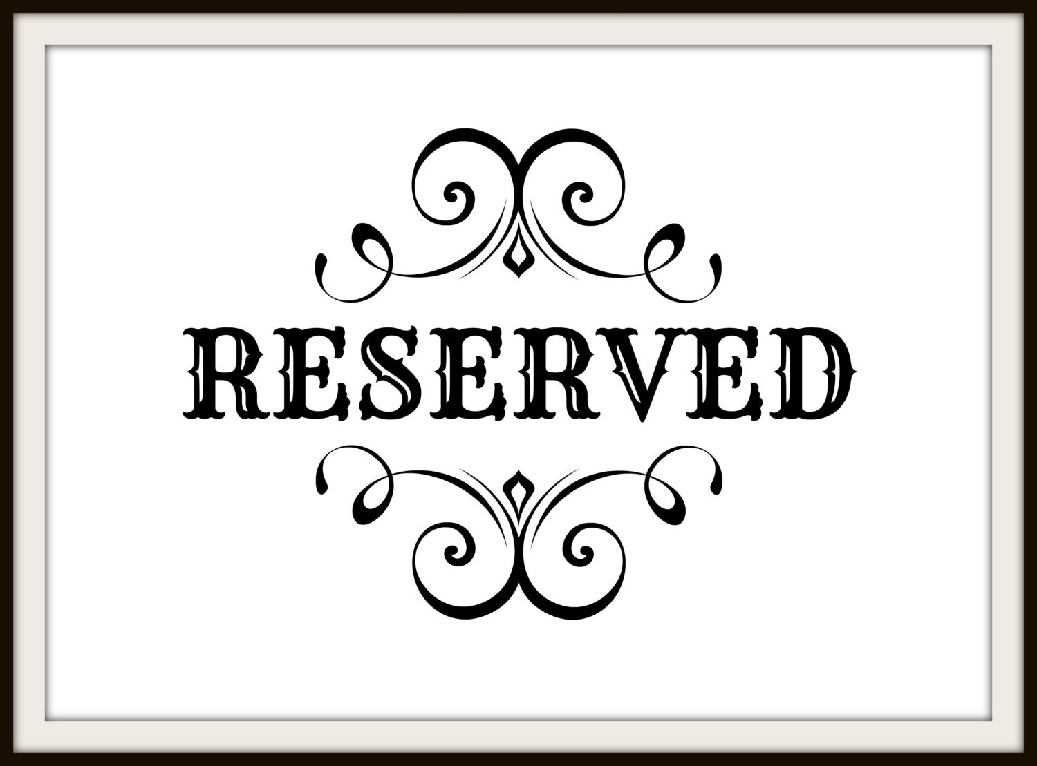 Clean image with printable reserved sign