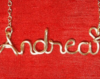 Andrea necklace,Name Necklaces,Personalized wedding jewelery,Birthday gift,Bridesmaid necklace,Custom Name necklace