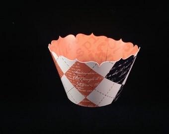 Halloween Cupcake Wrapper Orange and Black Argyle/ Reversible - Limited Supply